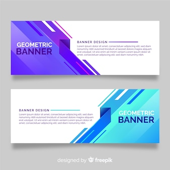 Collection of banners with geometric shapes