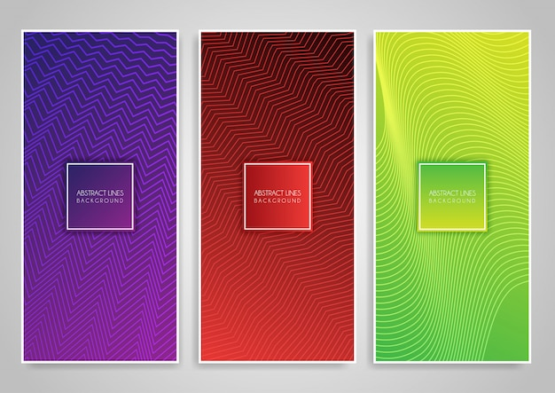 Collection of banners with zig zag