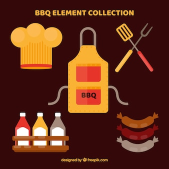 Collection of barbecue elements in flat design