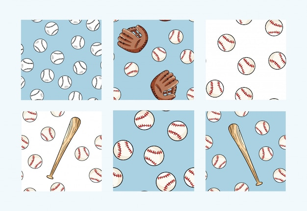 Collection of baseball seamless patterns