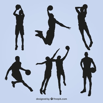 Collection of basketball player silhouettes