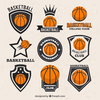 Collection of basketball stickers in vintage style