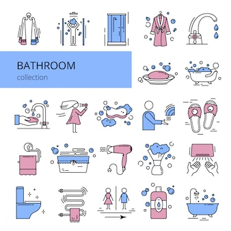 Collection of bathroom icons.