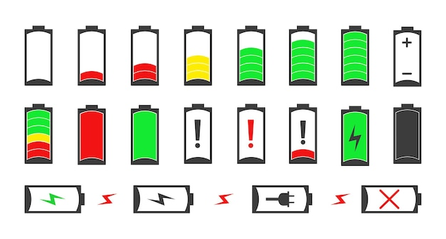 Collection of batteries with different charging levels.