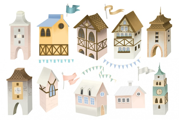 Collection of bavarian houses, towers, flags and garlands; hand painted illustration, isolated objects on a white background