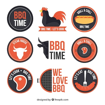 Collection of bbq badges in flat design