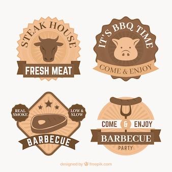 Collezione di badge bbq in design piatto