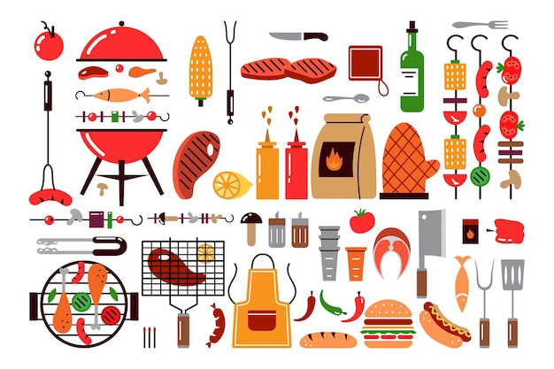 Коллекция барбекю, приготовление пищи на гриле, изолированные на белом фоне
