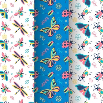 Collection of beautiful bug pattern