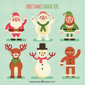 Collection of beautiful christmas characters in flat design