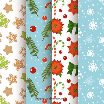 Collection of beautiful christmas patterns Free Vector