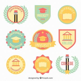 Raccolta di belle loghi universitari in stile retrò