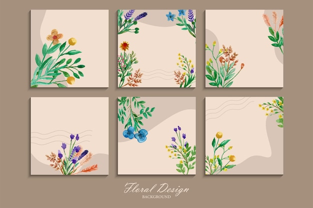 Collection of beautiful and colorful wild flower wall hangings with watercolor