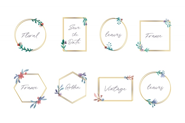 Collection of beautiful floral frames
