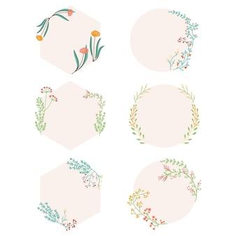 Raccolta di bellissime cornici floreali