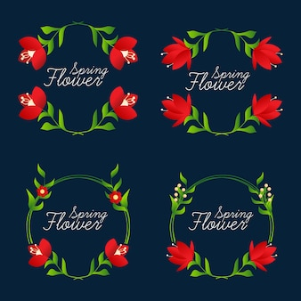 Collection beautiful flower frames