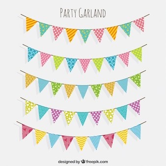 Collection of beautiful garlands in vintage style