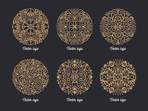 Collection of beautiful golden round ornaments