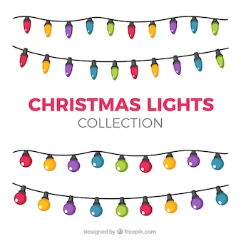 Collection of beautiful light bulbs of christmas colors
