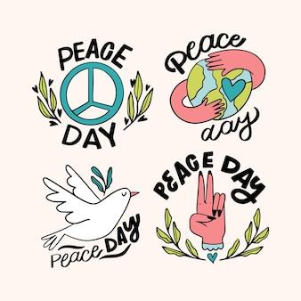 Raccolta di bellissime etichette del giorno della pace