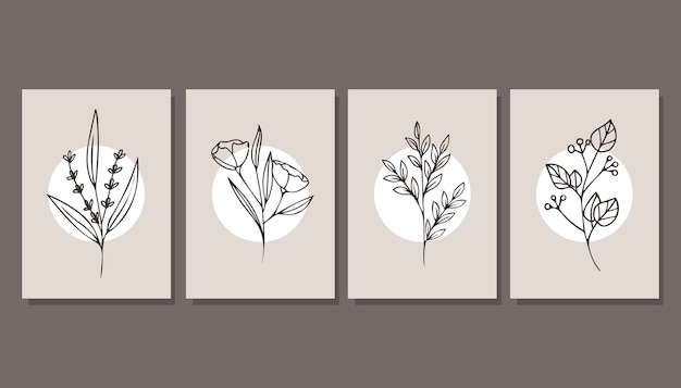 Collection of beautiful posters with plants. minimalism. modern art.
