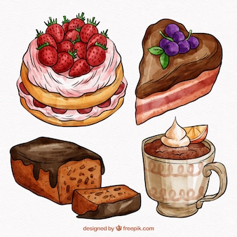 Collection of beautiful sweet watercolor cakes
