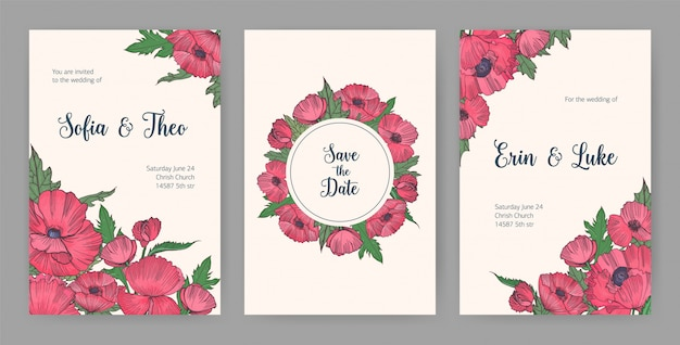 Collection of beautiful templates for save the date card or wedding invitation with pink blooming poppy flowers