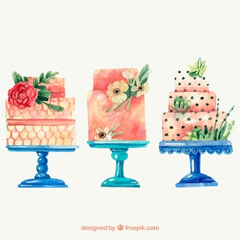 Collection of beautiful watercolor cakes