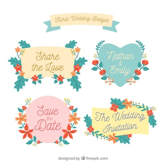 Collection of beautiful wedding badges