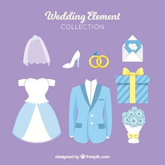 Collezione di bellissimi elementi di nozze in colore pastello
