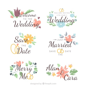 Collection of beautiful wedding labels