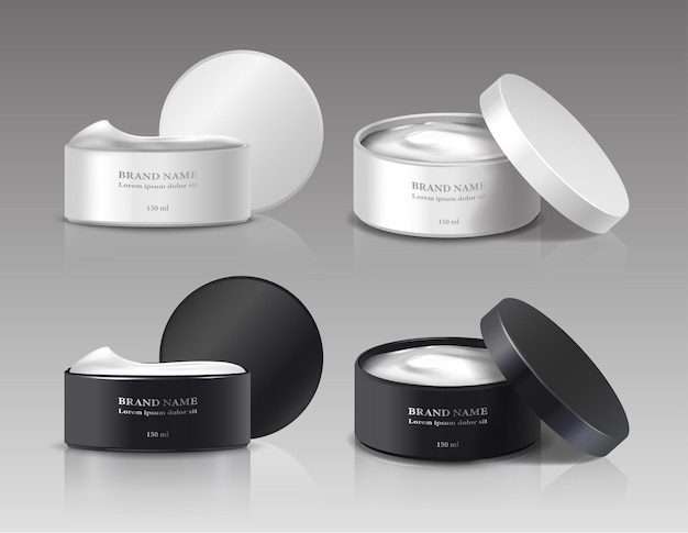 Collection of beauty cream jars with open lids in white and black color Premium Vector