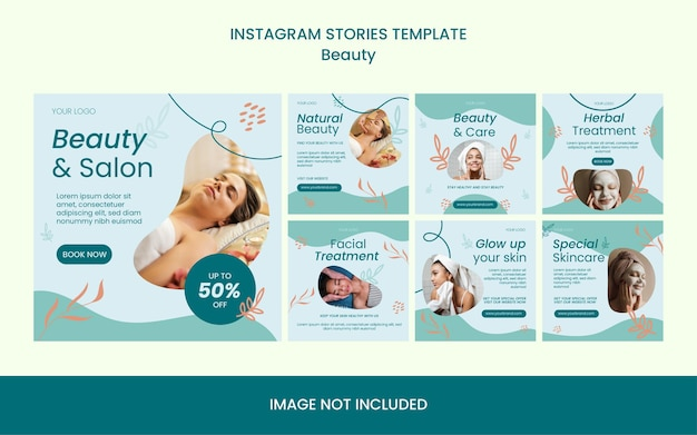 Collection of beauty skin care treatment saloon modern instagram post feed template