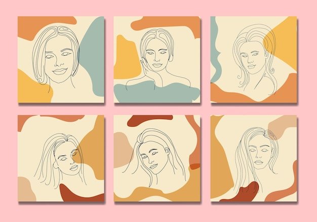 Collection of beauty woman face minimal hand drawn line art boho mid century