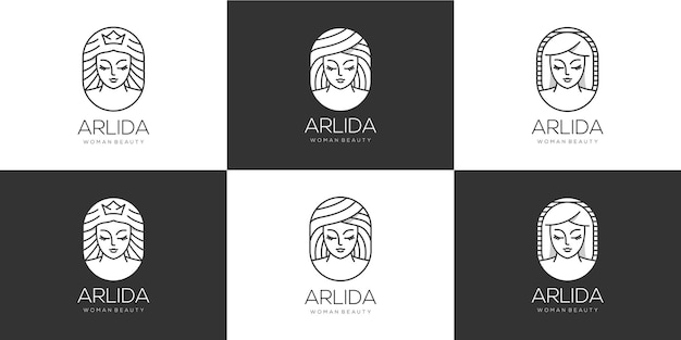 Collection of beauty women hair logo
