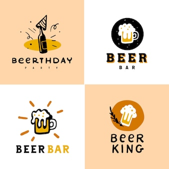 Collection of beer alcohol logo set isolated on white background.