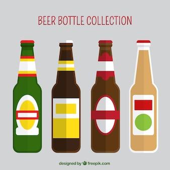 Raccolta di bottiglie di birra in design piatto