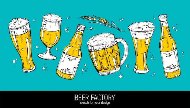 Collection of beer illustration
