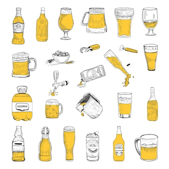 Collection of beer in sketch style.