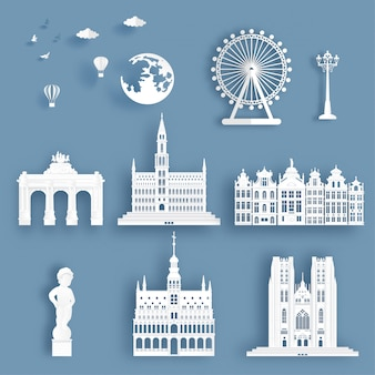Collection of belgium famous landmarks
