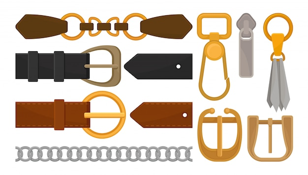 Collection of belt elements. stylish leather male and female waistbands, metal and golden accessories buckles, zipper pull, silver chain, leather tassel and carabiner. isolated flat  design.