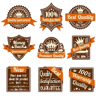 Collection best quality and guarantee labels, vintage design, vector illustration