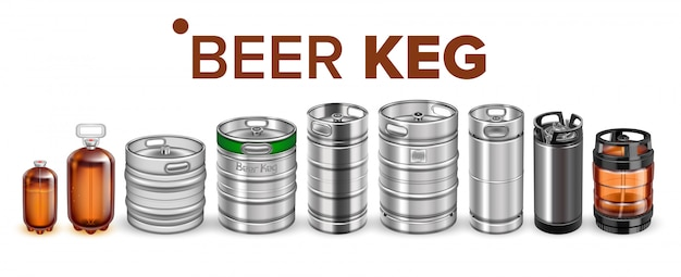 Collection of beverage keg barrel cask set