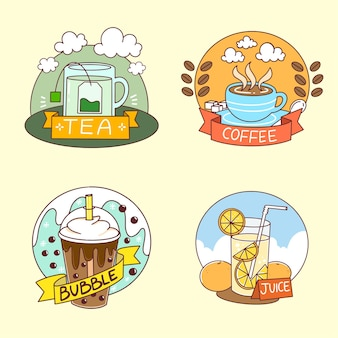 Collection of beverage logos doodle illustration