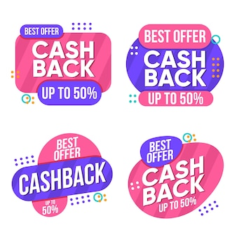 Collection of bicolored cashback labels