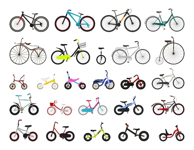 Collection of bicycles for children and adults.