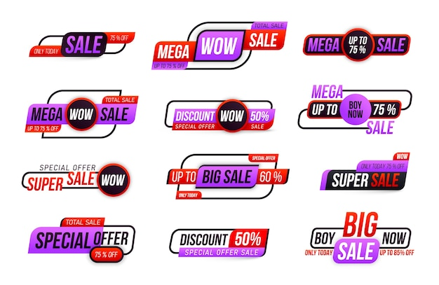 Collection of big sale tag isolated on white