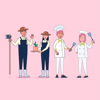 Collection of big set isolated various occupations or profession people wearing professional uniform, flat   illustration.