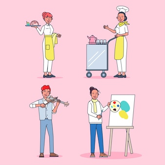 Collection of big set isolated various occupations or profession people wearing professional uniform, flat   illustration. Free Vector