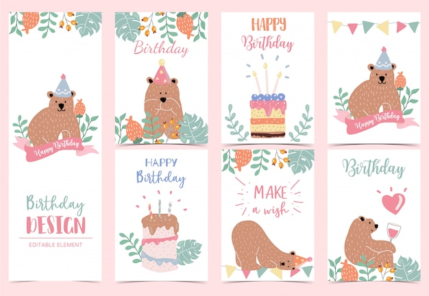 Collection of birthday background set with bear
